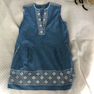 Chambray embroidered mini dress